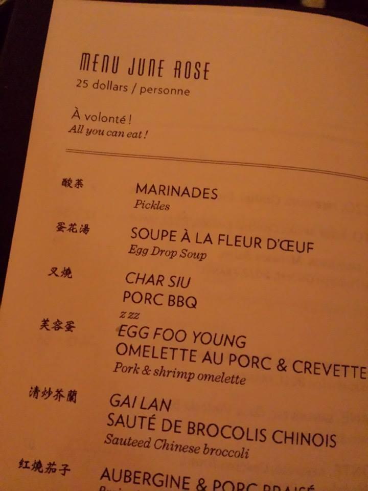 Aperçu du menu