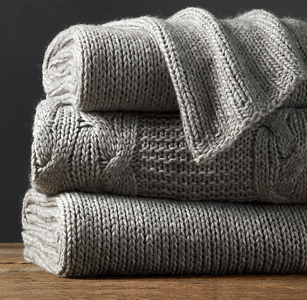 Grey Alpaca Knitted Throws