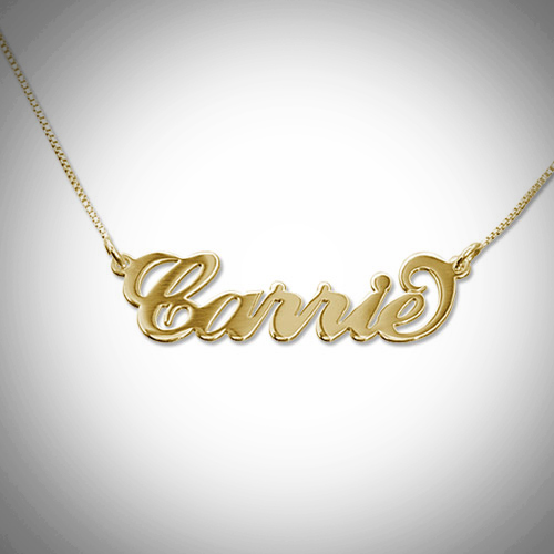 Gold Nameplate Carrie Necklace Holiday gift idea Montreal