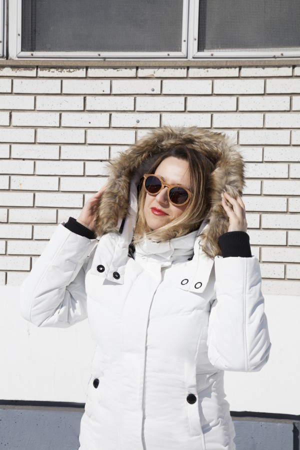 White Winter Jacket Nudabite Noize Original Vegan Winter Coat